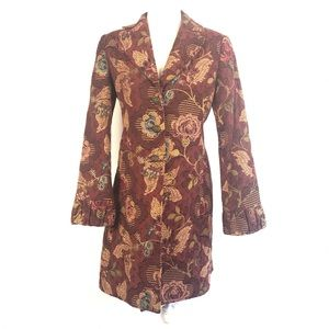 CAbi Jacobean Tapestry Floral Long Coat Style 749